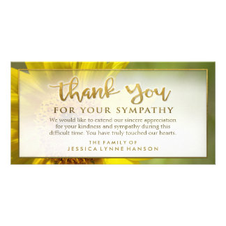 Golden Sunflower Floral Thank You Sympathy Card Customized Photo Card