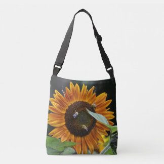 Golden Sunflower With Bees Crossbody Bag