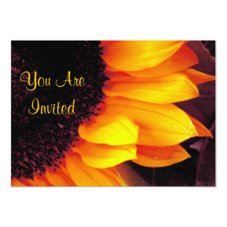 Golden Sunflower You Are Invited Wedding Card