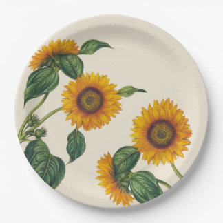 Golden Sunflowers Botanical Paper Plate 9""
