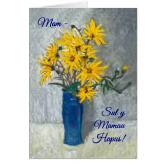 Golden Sunflowers Mothers Day Card, Welsh Greeting Card