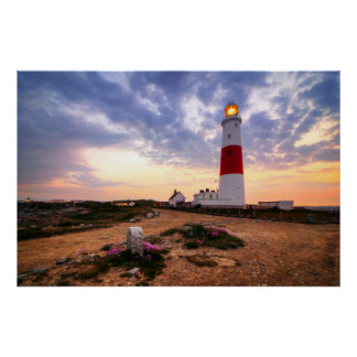 Golden Sunrise At Portland Bill Lighthouse Poster