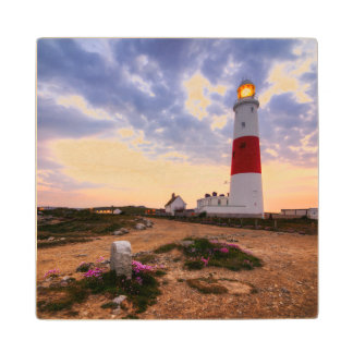 Golden Sunrise At Portland Bill Lighthouse Wood Coaster