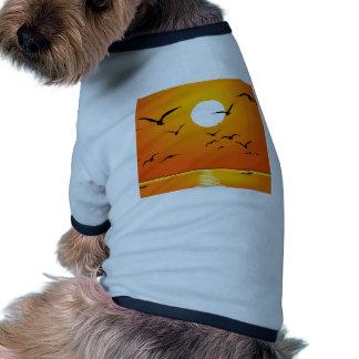 Golden Sunrise & Birds Flying on River Ringer Dog Shirt