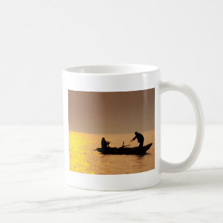 Golden SUNSET and a BOAT Mugs