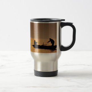 Golden SUNSET and a BOAT Stainless Steel Travel Mug