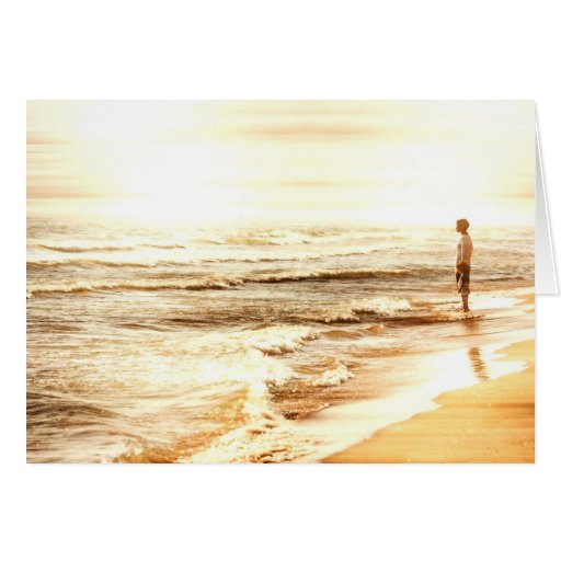 Golden sunset at sea - mother and daughter greeting cards