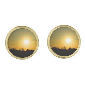 Golden sunset gold finish cuff links
