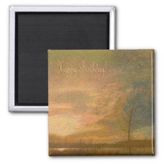 Golden sunset/ Happy Birthday Square Magnet