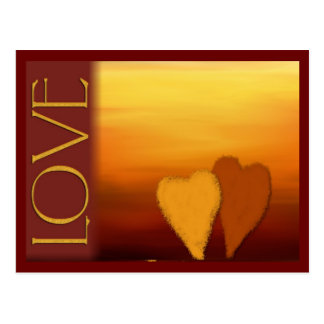 Golden sunset love card postcard