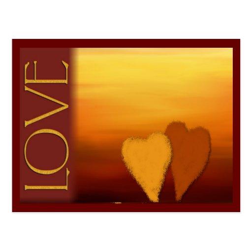 Golden sunset love card postcard