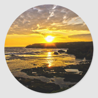 Golden Sunset on coast Classic Round Sticker