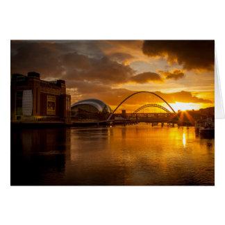 Golden sunset on the River Tyne Card