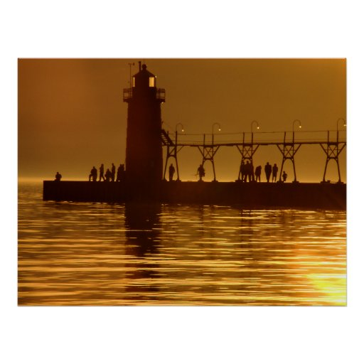 Golden Sunset on the Water Posters