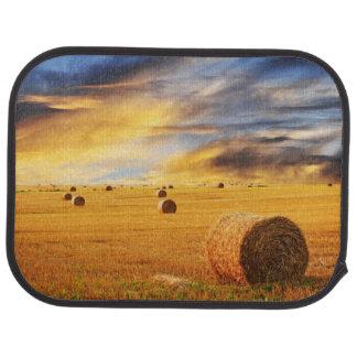 Golden Sunset Over Farm Field Car Mat