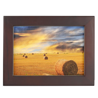 Golden Sunset Over Farm Field Keepsake Box