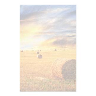 Golden Sunset Over Farm Field Stationery