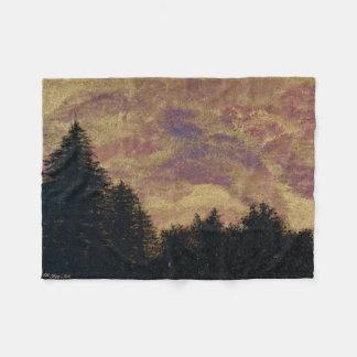 """Golden Sunset Pines"" Artwork Throw by All Joy Art Fleece Blanket"