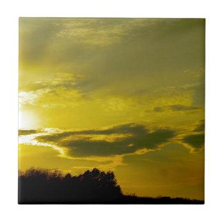 Golden Sunset Small Square Tile