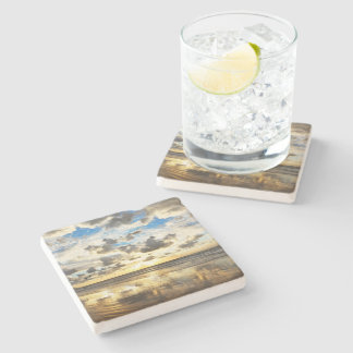 Golden Surf Sunrise Stone Coaster