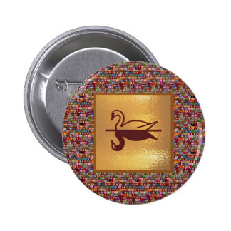 Golden SWAN -  Happy Holidays Decorations Button