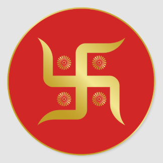 Golden Swastika Classic Round Sticker