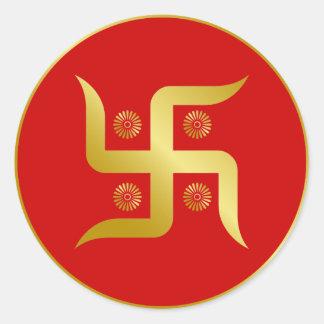 Golden Swastika Round Sticker