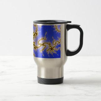 Golden Swirl on Blue - fractal design Coffee Mugs