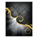 golden swirl on greys damask classy design 21.5 cm x 28 cm flyer