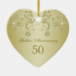 Golden swirls 50th Wedding Anniversary Ornament