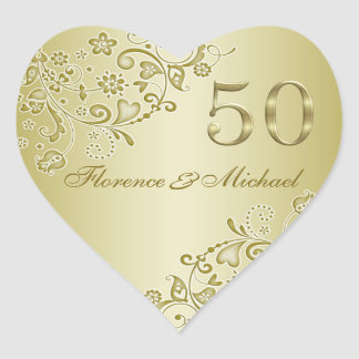 Golden swirls 50th Wedding Anniversary Sticker