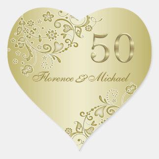 Golden swirls 50th Wedding Anniversary Sticker