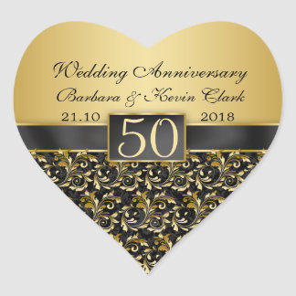 Golden swirls, damask 50th Wedding Anniversary Heart Sticker