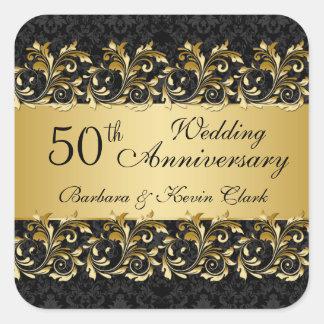 Golden swirls, damask 50th Wedding Anniversary Square Sticker