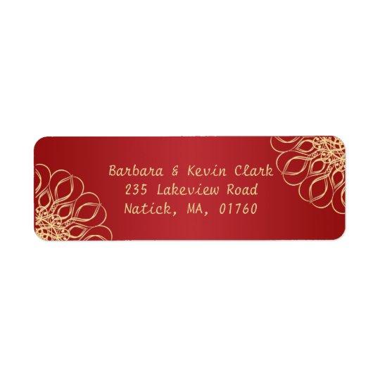 Golden swirls on dark red background return address label