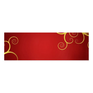 Golden swirls on deep red pack of skinny business cards