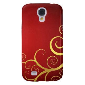 Golden swirls on deep red samsung galaxy s4 case