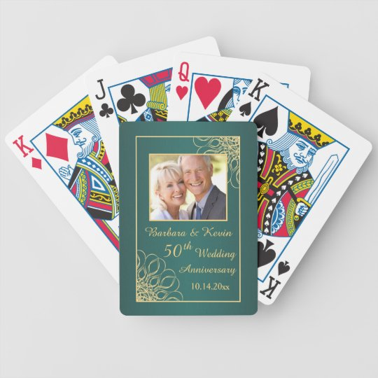 Golden swirls on teal 50th Wedding Anniversary Bicycle Playing Cards
