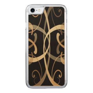 Golden Swirls Pattern On Black Carved iPhone 7 Case