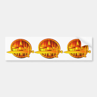 Golden Sword & Shield Car Bumper Sticker