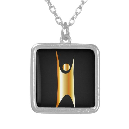 Golden symbol of Humanism Silver Plated Necklace