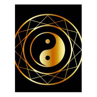 Golden symbol of Taoism Daoism Postcard
