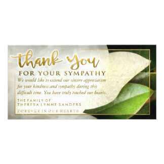 Golden Sympathy Thank You White Floral Card Photo Cards