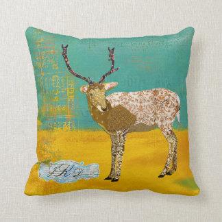 Golden Teal Ornate Deer Monogram  Mojo Pillow Cushions