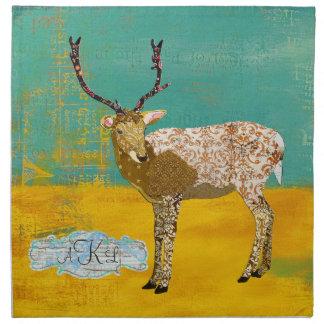 Golden Teal Ornate Deer Napkin