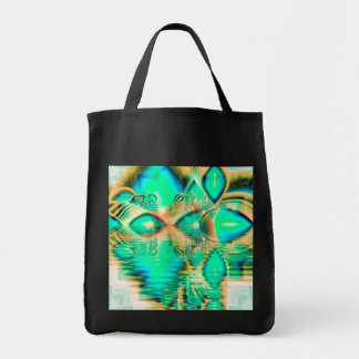 Golden Teal Peacock, Abstract Copper Crystal Grocery Tote Bag