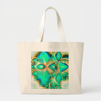 Golden Teal Peacock, Abstract Copper Crystal Jumbo Tote Bag