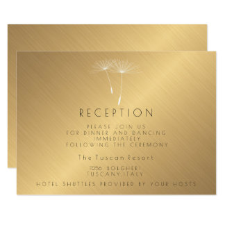 Golden Texture Dandelion Wedding Reception Card