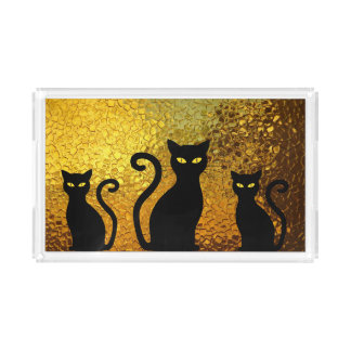 Golden Textured Black Cat Kittens Acrylic Tray