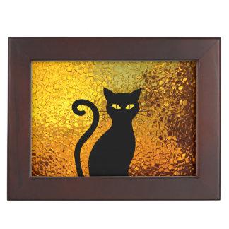 Golden Textured Black Cat Kittens Keepsake Box